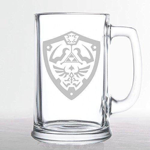 The Legend of Zelda - Hylian Shield - Etched Beer Mug by Chico's 8Bit Designs