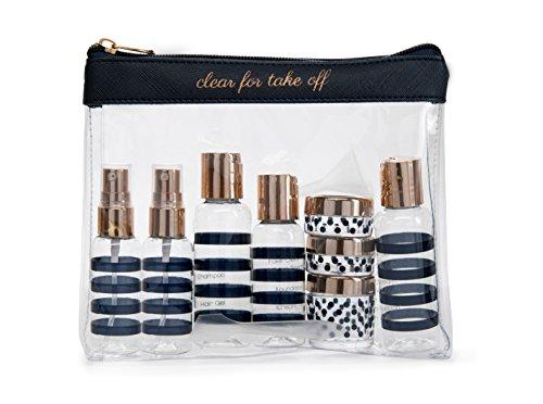 - Miamica Women's TSA Compliant Travel Bottles and Toiletry Bag Kit, 12 Piece, Navy