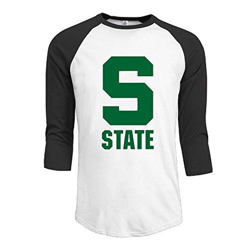 Yesher Men's Vintage Michigan S Logo State University Round Collar 3/4 Sleeve Essential Raglan Tee Shirts - Black - Cubs T-shirt Chicago Customized