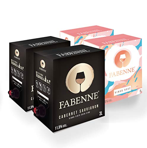 Fabenne Kit 2 Unidades Vinho Tinto Cabernet Sauvignon e 2 Unidade Vinho Rosé - Bag-in-Box 3 Litros cada