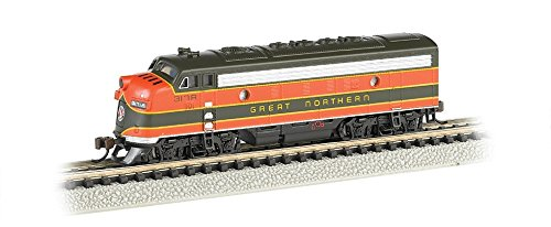 - Bachmann Industries EMD F7-A Diesel Locomotive DCC Equipped Great Northern Train Car, Green/Orange, N Scale