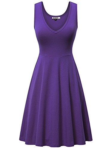 Fine Scarf Jersey - HUHOT Casual Dresses for Women Summer, Sleeveless Midi Dress Sexy Skater Prom Dresses(Purple,X-Large)