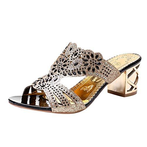 (Nevera Women's Bohemia Peep Toe Low Heel Evening Sandals Embellished Dress Party Wedding Sandal Black)