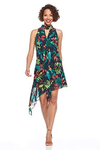 - Maggy London Women's Hot Tropics Chiffon Cocktail Dress with Asymmetrical Hem, Dark Navy/red, 6