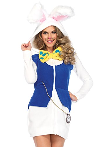Alice And Wonderland Rabbit Costumes (Leg Avenue Women's White Rabbit Cozy, White/Blue, Medium)