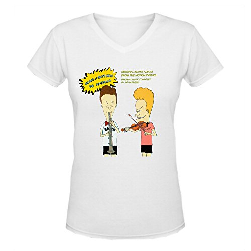 John Frizzell Beavis And Aunt Sally Head Do America Design ladies V Neck Tee Shirt White