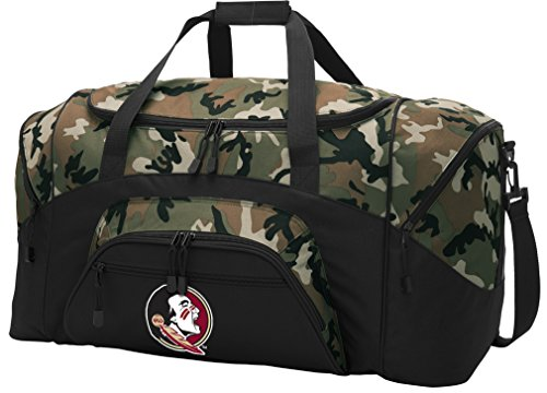 (Broad Bay Large FSU Duffel Bag CAMO Florida State University Suitcase Duffle Luggage Gift Idea for Men Man Him!)