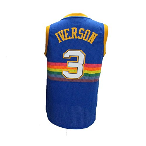 maodege Men's Allen Jerseys Denver 3 Basketball Jersey Iverson Jerseys Blue