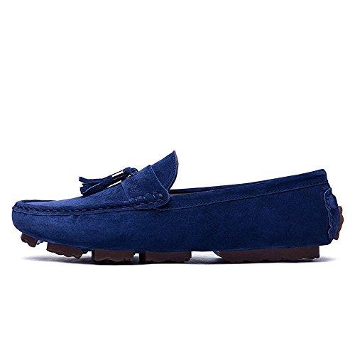 Scamosciata Scarpe per Drive Traspiranti Blu per Pelle Fashion British in Cricket da Tassel Casual Uomo Mocassini Mocassini Barche UY6dqxw76