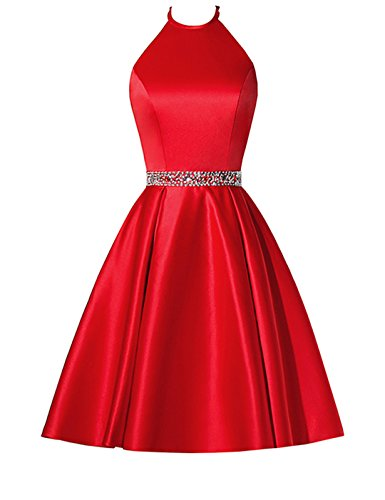 BBCbridal Satin Halter Homecoming Dresses Short Beaded Cocktail Dress for Juniors with Pockets Red 12