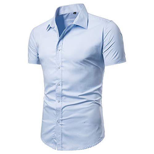 LOCALMODE Men's Slim Fit Cotton Business Casual Shirt Solid Short Sleeve Button Down Dress Shirts (Large, Light Blue) -