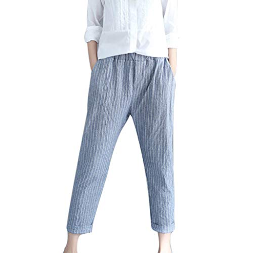 - hositor High Waisted Pants, Ladies Casual Stripe Cotton Linen Pant Loose Trousers Elastic Band Harem Pant Blue