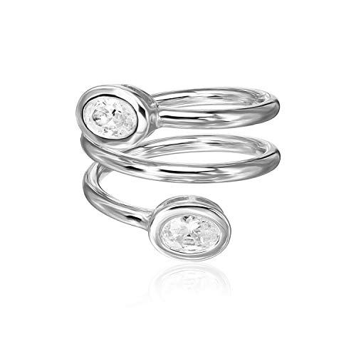 Sterling Silver CZ Cubic Zirconia Adjustable Spiral Statement Ring, Size ()