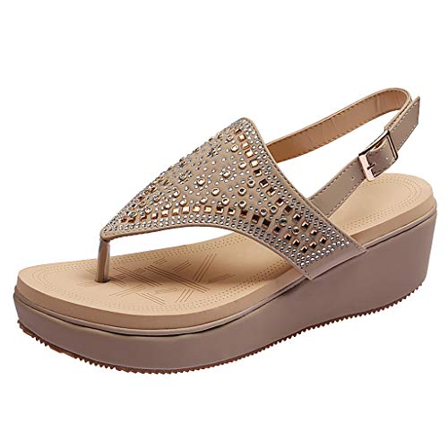 ✔ Hypothesis_X ☎ Women's Plus Size Platform Wedges Sandals Shoes Casual Slingback Summer Beach Thong Flat Sandal Beige