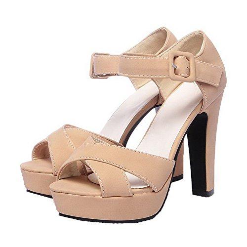 AalarDom Mujer Puntera Abierta Tacón Alto Sólido Sandalias de vestir Beige(MIS)