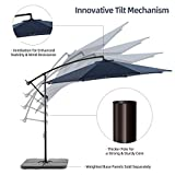 Bluu 10ft Patio Offset Umbrella Cantilever Umbrella Hanging Market Umbrella Outdoor Umbrellas with Crank & Cross Base