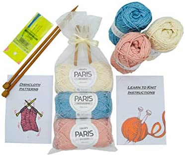 Knitting Kits for Beginners Adults – 6 Pcs Knitting Needle Set with 100% Cotton Yarn – Craft Kits for Adults UK – Includes Bamboo Knitting Needles and Yarn Needle – Fantastic Gift