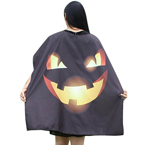 METFIT Halloween Woman Pumpkin Poncho Shawl Wrap Costume Cape Scarf (G)