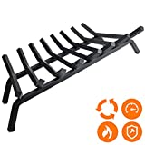 Fireplace Log Grate 33 inch - 8 Bar Fire Grates - Heavy Duty 3/4' Wide Solid Steel - For Indoor Chimney Hearth Outdoor Fire Place Kindling Tool Pit Wrought Iron Wood Stove Firewood Burning Rack Holder