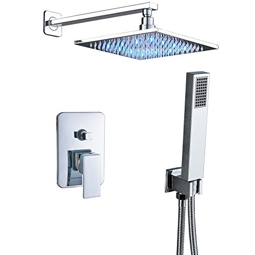 (Senlesen Wall Mounted Shower Systems with High Pressure 10 Inch LED Light Square Rain Shower Head and Handheld Shower Faucet Set Chrome Polished)