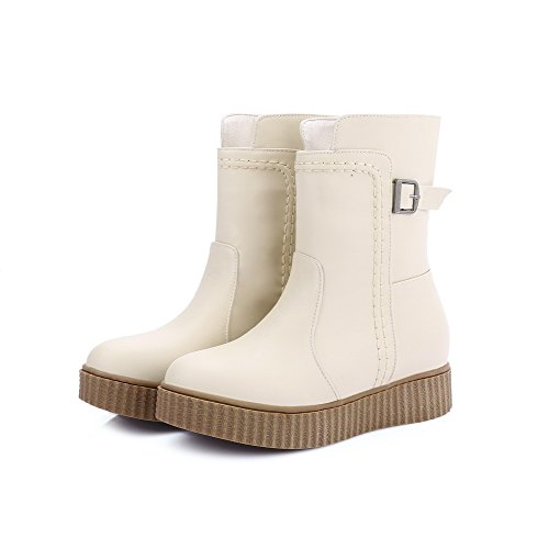 AgooLar Women's Low-Top Solid Pull-On Round Closed Toe Low-Heels Boots Beige TAWSfBdj