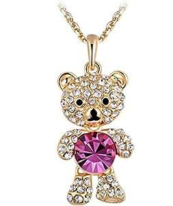 ROXI bañado en oro rosa de moda para mujer morado de audio en forma de carcasa Paving lámpara de techo collares aleación de oso de peluche