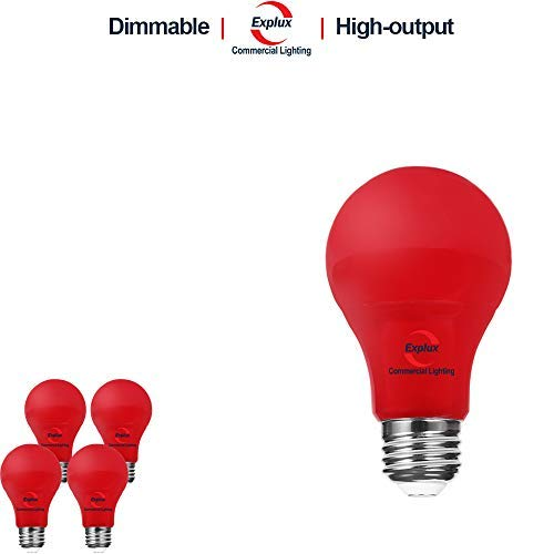 Explux Dimmable Red Color LED A19 Bulbs, High-Output Version, 60W Equivalent, 4-Pack ()