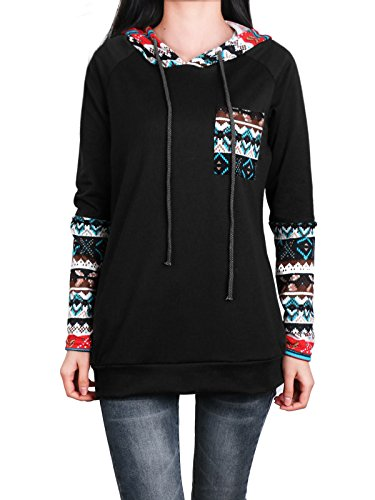 Christmas Sweater, Anne Smith Pullover Hoodie Women Long Sleeve Lightweight Cowl Neck Geometrical Print Pocket Front of Chest Banded Bottom Comfy Spandex and Polyester Casual Thin Tunic Tops Black (Lycra Cowl Neck)