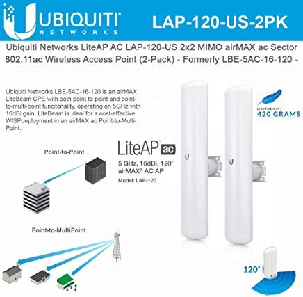 LiteAP AC LAP-120-US 2x2 MIMO airMAX ac Sector Access Point - Formerly LBE-5AC-16-120 - (2-Pack) by UBNT Systems