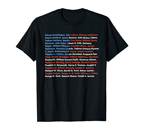 List of Presidents of the United States, Gift Shirt