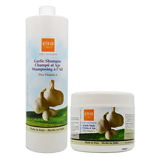 Ever Ego Garlic Hot Oil Treatment with Garlic 500 ml & Alter Ego Garlic Shampoo 1000 ml