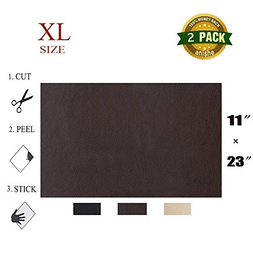 Anishe Large Size Leather Repair Patch, First-aid for Sofas Car Seats, Handbags Jackets, Large Size, Plain 11-inch by 23-inch, Dark Brown ()