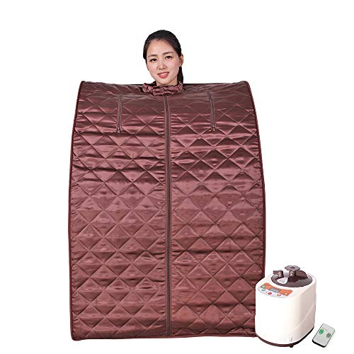 Smartmak Portable Steam Sauna, Home Full Body One Person Spa Tent, 2L Steamer with Remote Control, eco-Friendly Indoor Weight Loss Detox Therapy, Herbal Box Included(US Plug)- Brown