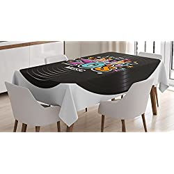 Ambesonne 70s Party Decorations Tablecloth, Music Theme Colorful Stars Flowers Notes Record Vinyl Discography, Dining Room Kitchen Rectangular Table Cover, 60 W X 84 L inches, Multicolor