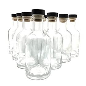 375 ml (12.75 oz) Nordic Glass Bottle Decanter with Bar Top Cork for Whiskey, Liquor, Syrup or Mouthwash