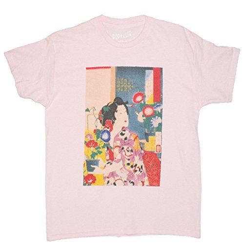 (Popkiller Ukiyoe Series Flower Cat Girl Women's T-Shirt, Pink, Small/Medium)