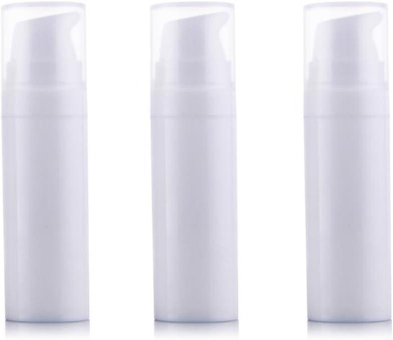 3pcs Bomba sin aire bottles-empty recargables, caña de plástico Mini bayoneta crema loción tóner maquillaje líquido de almacenamiento contenedores tarro ollas (color blanco)