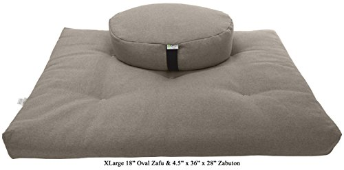 Zafu and Zabuton Meditation cushion Set, 100% Cotton, Organic Buckwheat Fill - 2 SIZES, 12 COLORS - Made In USA, by Bean Products (Hemp, XLarge 18' Oval Zafu & 4.5x36x28 Zabuton)