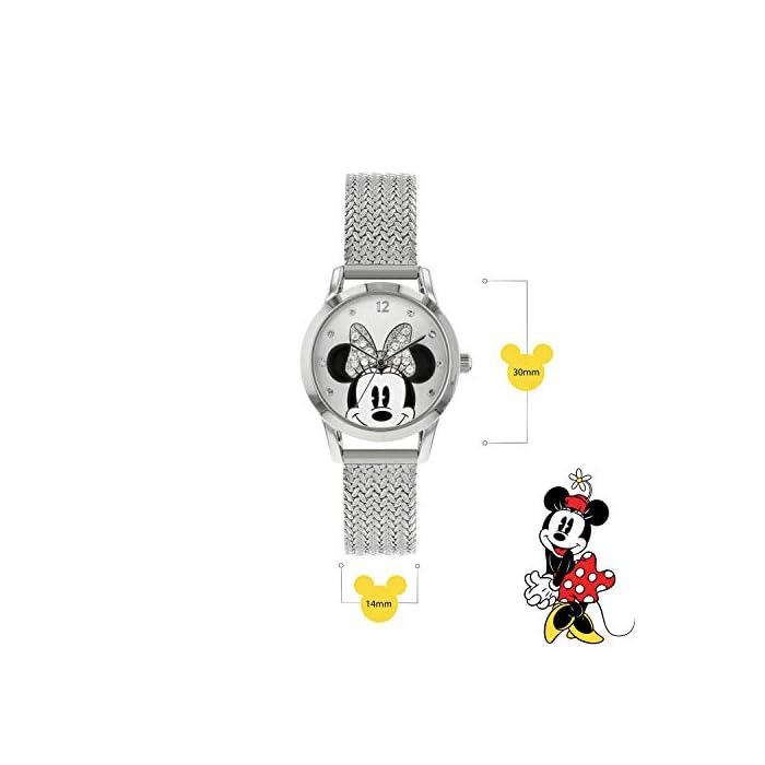 41P2ePfSOyL Reloj de Minnie Mouse para adultos Esfera de 30 mm Correa de malla de metal plateado