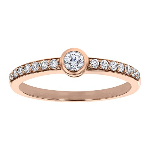 e Gold Bezel Set Solitaire Ring with Diamond Accent (1/3 cttw, H-I, I1) Size 8 ()