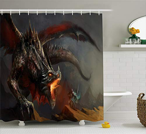 Ambesonne Medieval Decor Collection, Fantasy Scene Fearless Knight Fighting with Dragon Danger Fire Breathing Mythology Themed Art, Polyester Fabric Bathroom Shower Curtain, 84 Inches Extra Long, Grey