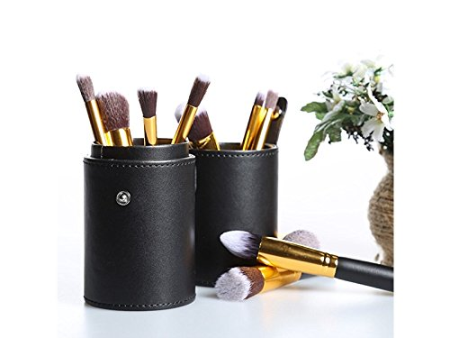 Hezon Leather Waterproof Cosmetic Brush and Pen Holder Storage Makeup Empty Holder (Black) EASY TO USE