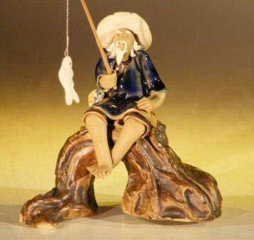 Bonsai Boy's Miniature Ceramic Fisherman Figurine Fisherman Sitting On A Log - Blue - Figurine Bonsai Ceramic Tree