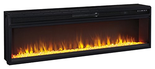 Log Corner Tv Shelf (Signature Design by Ashley W100-22 Entertainment Accessories Wide Fireplace Insert, Black)
