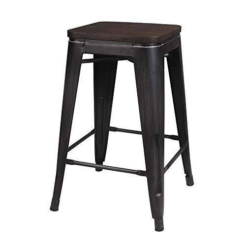 GIA 24-Inch Backless Stool with Wooden Seat, Antique Black/Dark Wood, 2-Pack (Renewed)