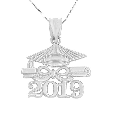 10k White Gold Diploma & Cap Charm 2019 Graduation Pendant Necklace, 16