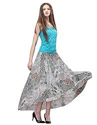 Maxchic Women's Elastic Waist Floral Print Maxi Skirt for Summer X10710Y14C,Beige,Large