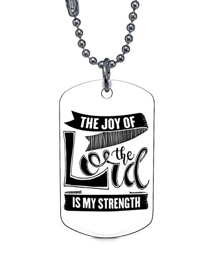 DLAWNECK The Joy of The Lord is My Strength Necklaces, Faith Christian Dog Tag (Dog Tag Necklaces - White)