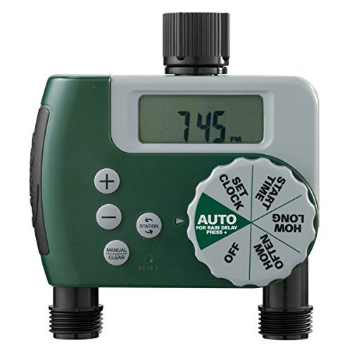 Orbit 58910 Programmable Hose Faucet Timer, 2 Outlet, Green (Best Timer For Water Hose)