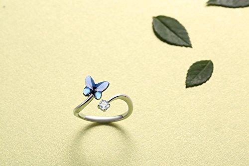 SUE'S SECRET Swarovski Element Ring Blue Love Butterfly Stone with Swarovski Crystal, Ajustable M Size, Fashion Love Gifts by SUE'S SECRET (Image #2)